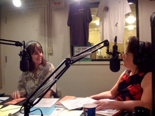 Julie Dodd and Donna Green Townsend in radio station studio