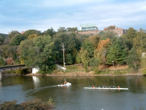 rowers on Iowa River