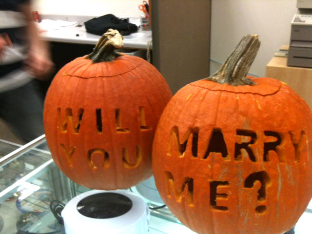 carved pumpkin marriage proposal