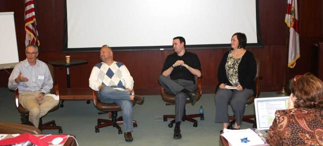 Jeff Browne (University of Kansas), Dan Reimold (University of Tampa), Rob Marino (College of Central Florida) and Teresa White (Indiana University) discussed the impact of the Supreme Court ruling in Hazelwood vs. Kuhlmeier (1988) on college media. The panel was part of the mid-winter meeting of the AEJMC Scholastic Journalism Division. Photo by Julie Dodd