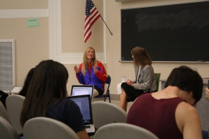 Students had the opportunity to observe an interview and to practice notetaking when I interviewed Hotdogger Holly Nelson in class.