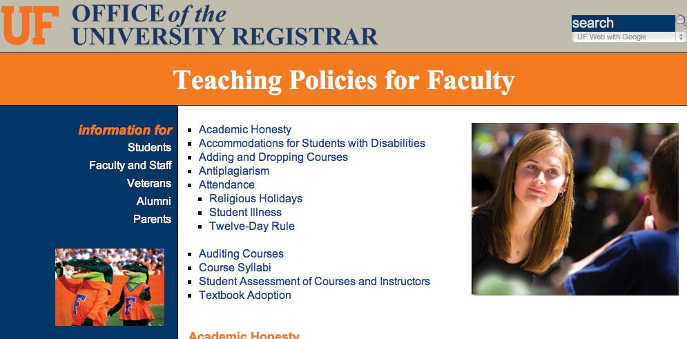 UF course syllabus policies