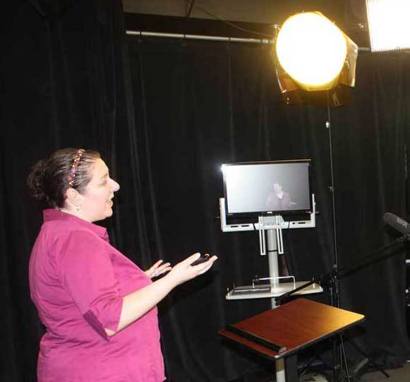 Jaclyn Sherman recording an online class at the University of Florida