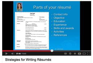 "Julie Dodd's YouTube video on ""Strategies for Writing Your Résumé"""