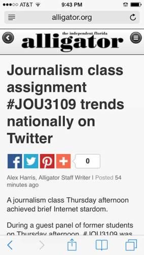 #JOU3109 trending - Alligator article