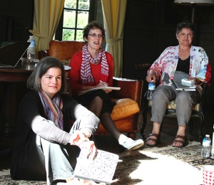 Julie, Betsy and Dottye listen to a prompt before writing in the grand salon of Chateau du Pin in Champtoce, France. The group had met together to write for ten years when 12 of the 13 traveled to France together to spend a week in a chateau in the Loire Valley. The chateau was built in the 12th century, the 16th and the 18 centuries, and it had many stories of its own that we explored and wrote about. It is owned by 18 heirs, children and grandchildren of the man who bought it in 1918, and was occupied by Germans during WWII. Photo by Kay Windsor