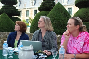 Kathy, Carol and Kelly are ready to write during the retreat at Chateau du Pin in 2012. The September temperatures were not dissimilar to North Carolina's temps, and it was pleasant to write outside during the afternoon. Carol authored the Farther Along book and is the group leader. She led the 2002 workshop that began this writing group collaboration almost twelve years ago. Photo by Kay Windsor