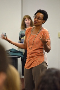 Nadene Reynolds offered advice about interviewing for jobs to students in the College of Journalism and Communications. Photo by Gabriella Nicholas