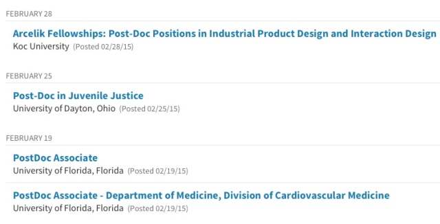 The Chronicle of Higher Education includes post-doc job announcements.