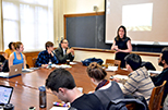 The number of students in the class, the classroom design and the technology all will be factors in your teaching presentation. And remember that the course's instructor (and other faculty members) will be observing you. Photo from Yale Teaching Center
