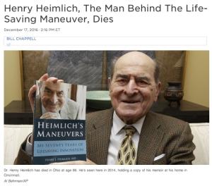 Dr. Henry Heimlich dies - NPR coverage