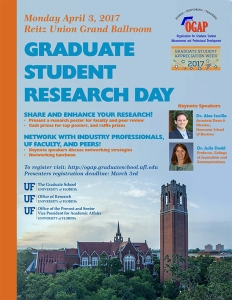 Graduate Student Research Day 2017 flier