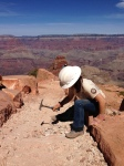 ACE worker breaks up rocks for South Kaibab Trail