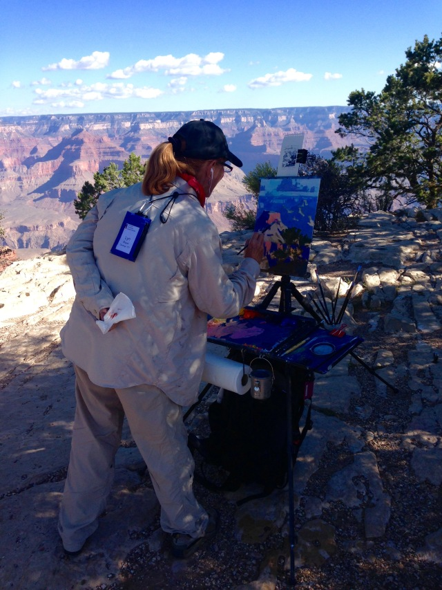 Lyn Boyer painting on South Rim - photo by Julie Dodd
