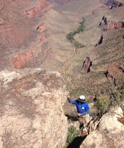Rappelling into Grand Canyon - photo by Julie Dodd