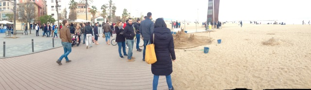Barcelona walkway along beach