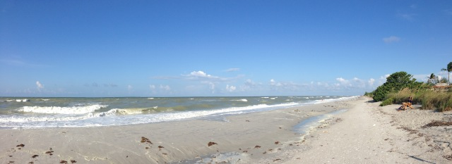 deserted beach at Sanibel Island during red tide