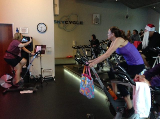Spin class with Santa