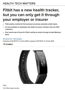 News story FitBit Inspire
