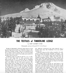 Mary Elizabeth Starr's article on Textiles of Timberline Lodge