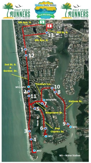 Naples Half Marathon course map