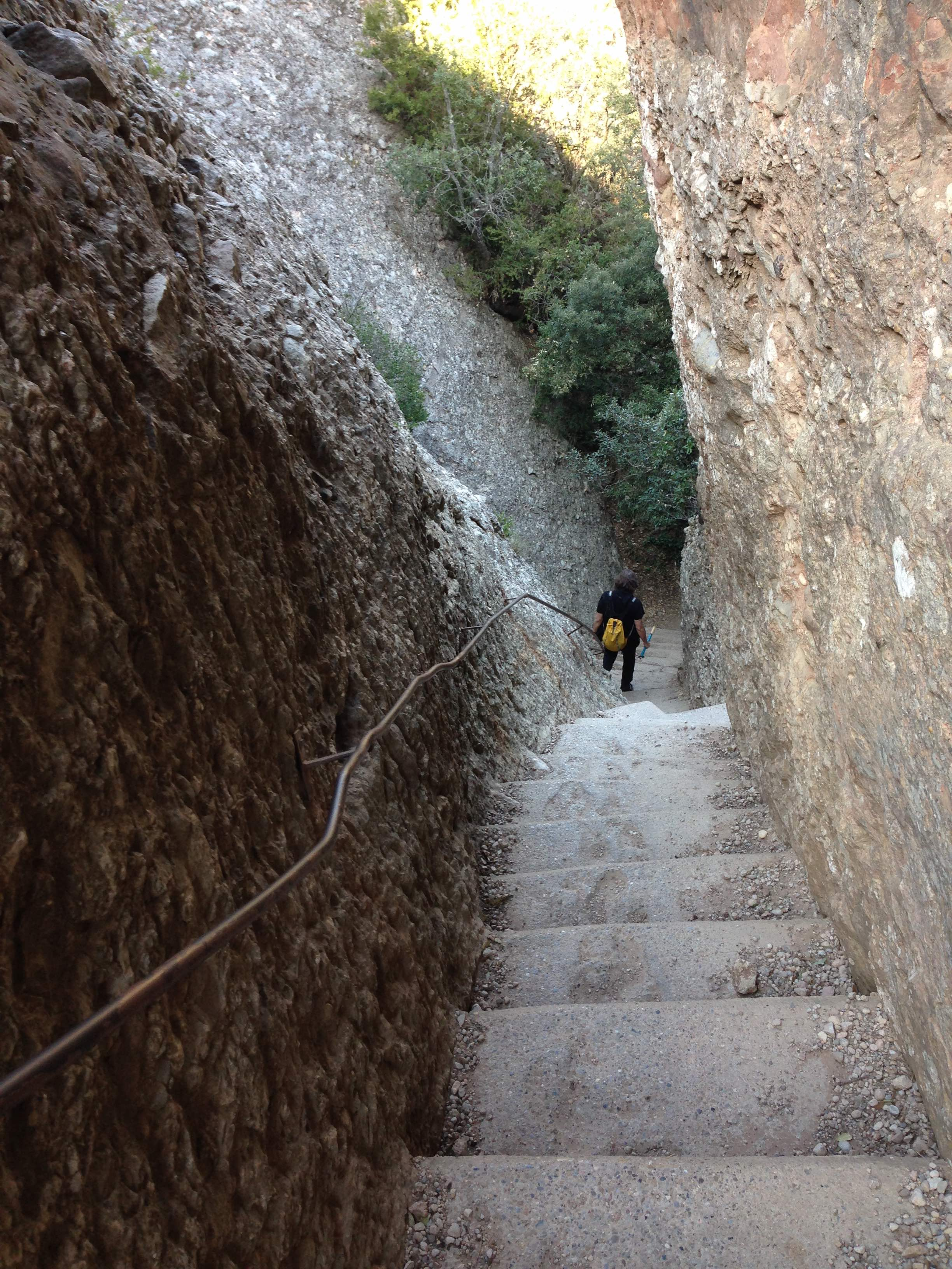 Concrete stairs on trail to Sant Jeroni - photo by Julie Dodd