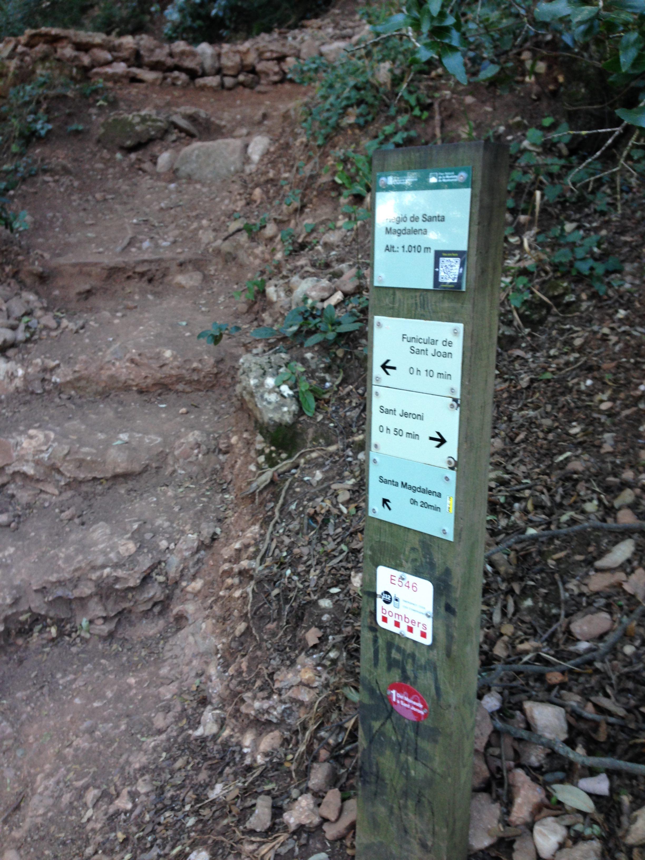 Trail sign in Montserrat Natural Park - photo by Julie Dodd