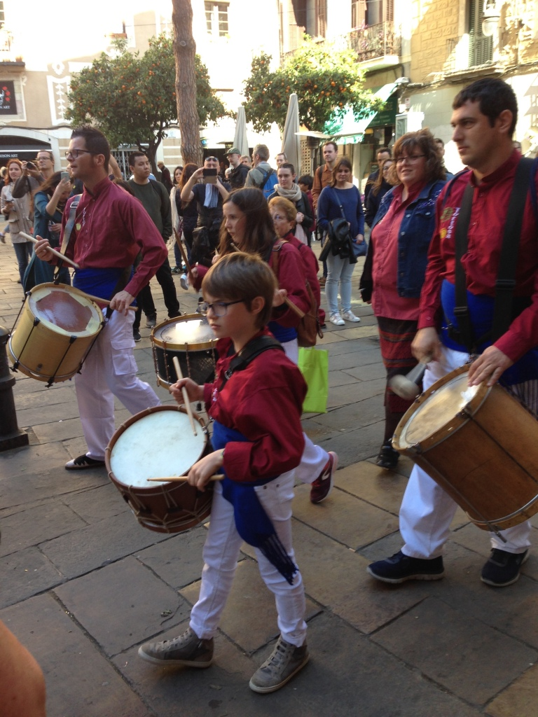 Catalan drummers in festival parade