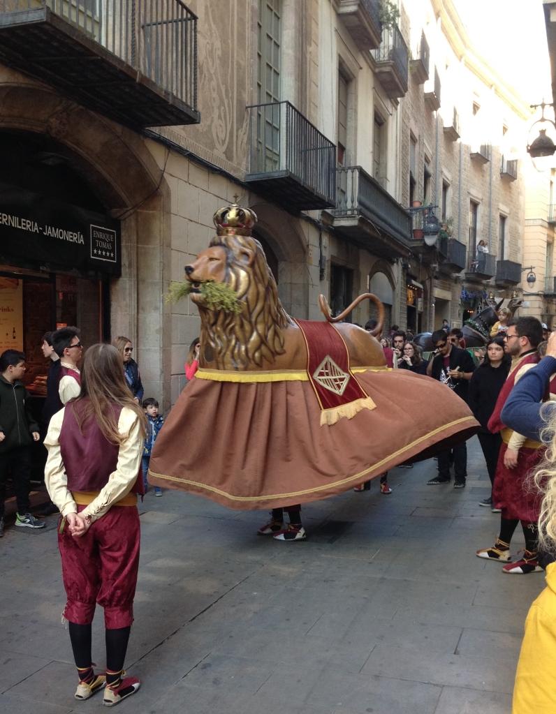 Lion performing in Festes de San Jose Oriol